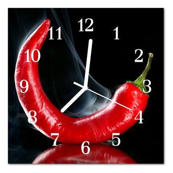 Zegar szklany ścienny Cichy Papryka chili -Tulup
