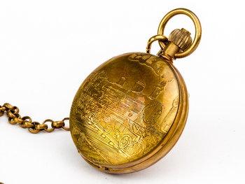 Zegarek na dewizce - Lokomotywa Czasu, złoty, Drobiny Czasu-Drobiny Czasu