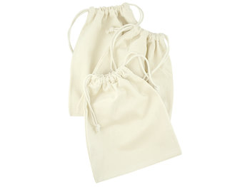 Zestaw 3 woreczków bawełnianych, ecru-Allbag
