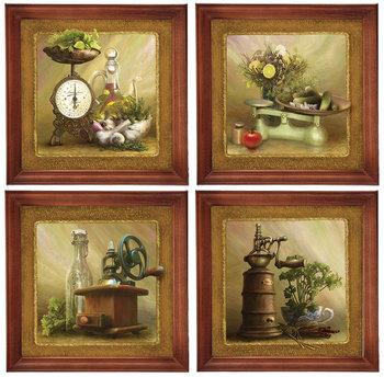 Zestaw 4 obrazów w drewnianej ramie, 20x20 cm- Seria kuchenna-Postergaleria