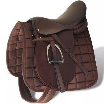 """Zestaw do osiodłania konia 17,5"""" z naturalnej skóry brązowy 18 cm 5w1-vidaXL"""