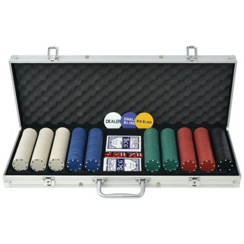 Zestaw do pokera 500 żetonów, aluminium-vidaXL