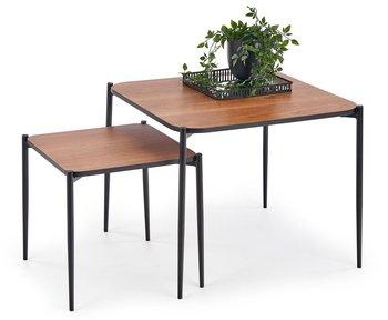 Zestaw kwadratowych stolików kawowych ELIOR Simple 3X, orzech-czarny, 2 szt.-Elior