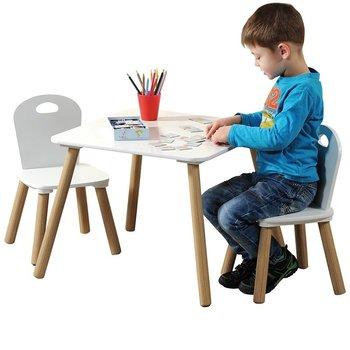 Zestaw mebelków dla dzieci, stolik i 2 krzesełka, kolor biały, Kesper-Kesper