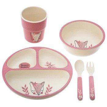Zestaw naczyń dla dzieci Pink Meal, bambusowy, kolor różowy-Atmosphera for kids