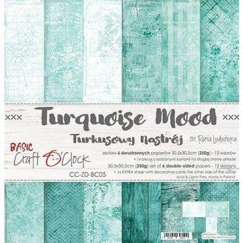 Zestaw papierów ozdobnych, 30x30cm, Turquoise Mood-Craft O'Clock