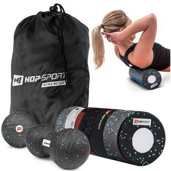 Zestaw piłeczek do masażu+roller czarny-Hop-Sport