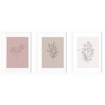 Zestaw plakatów CARDIE kwiaty jedna linia 30x42 cm A3-Cardie