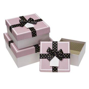 Zestaw pudełek kwadratowych, stripe Purple, 3 sztuki