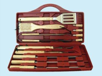 Zestaw sztućców do grilla LANDMANN 13345, drewno/stal chromowana, 38 cm, 12 elementów-LANDMANN