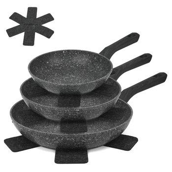 Zestaw trzech patelni granitowych z podkładkami KONIGHOFFER Carne, 20 cm; 24 cm; 28 cm-Konighoffer