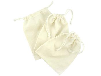Zestaw trzech woreczków bawełnianych, ecru-Allbag