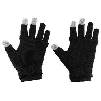 Zimowe rękawiczki 2w1 z ocieplaczem na dłonie do ekranów dotykowych mitenki czarny - Czarny-Hurtel