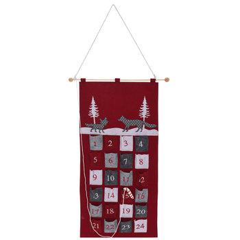 Zwierzęta, kalendarz adwentowy wiszący, czerwony, 50x80 cm